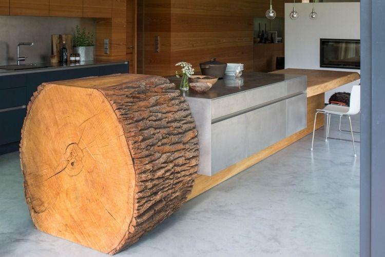 Schön Küchenblock Aus Beton Und Baumstamm Mit Essbereich