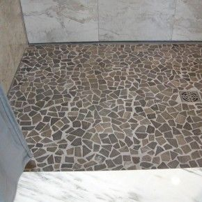 decorations tiles. copious recycled grey pebble shower