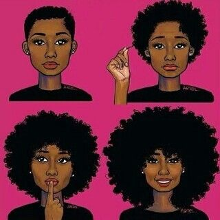 Natural Hair Cartoon Pictures Drawing Growth Hair Pretty With