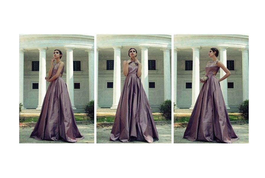 Long flowy designer gown in serene colors buy indian wear in london ...