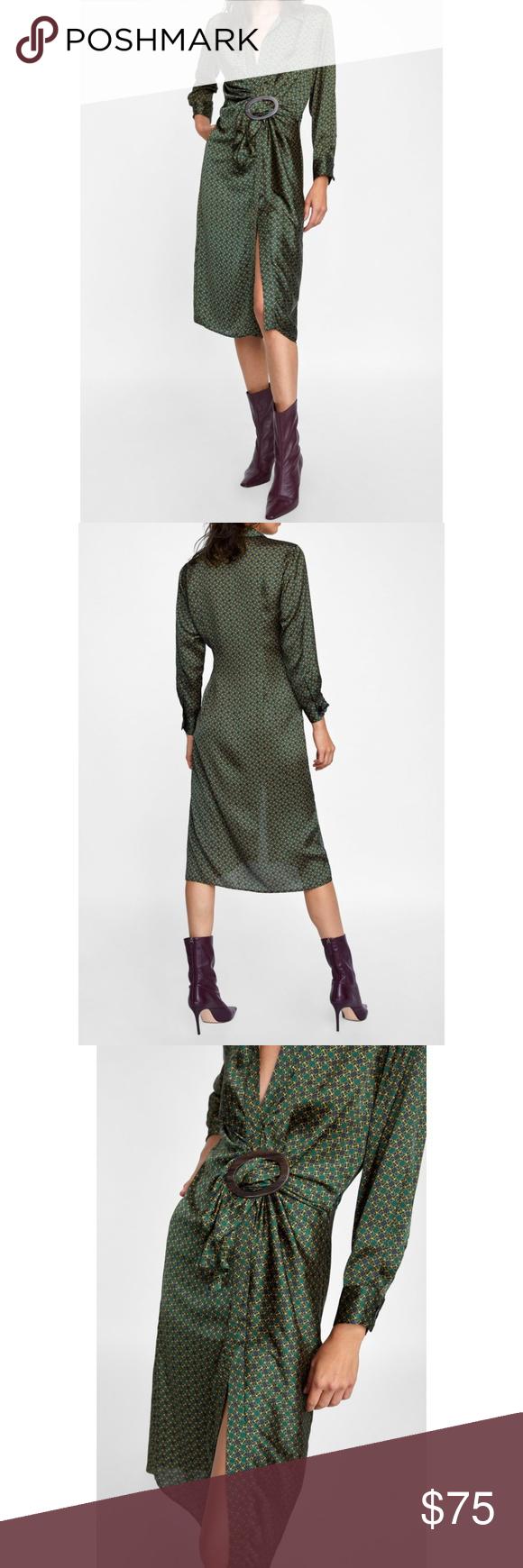 5313f019581 Zara Printed Dress With Buckle V-Neck Slit Midi XS NO OFFERS. PRICE ...