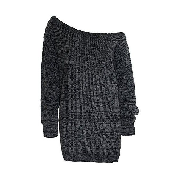 6e4d01781cc577 Womens Ladies One Off The Shoulder Chunky Knit Knitted Oversized Tunic...  ( 11