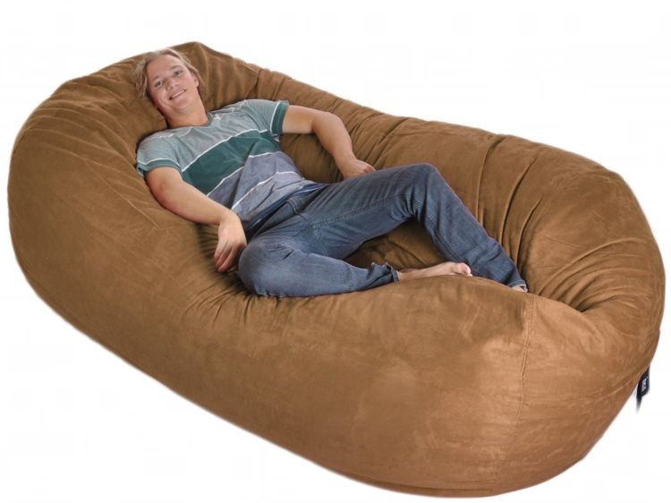 Eight Foot Oval Earth Brown Microfiber And Memory Foam Bean Bag
