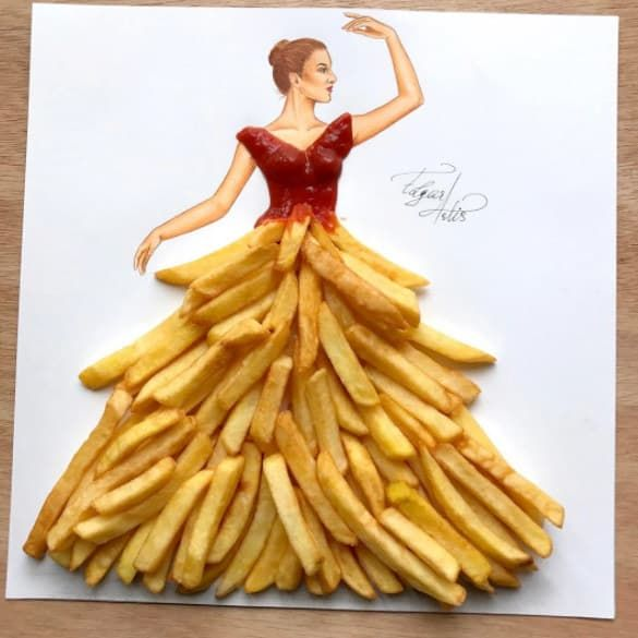 Photo of This Instagram artist makes fashion designs out of food and OMG, I want this french fries dress!