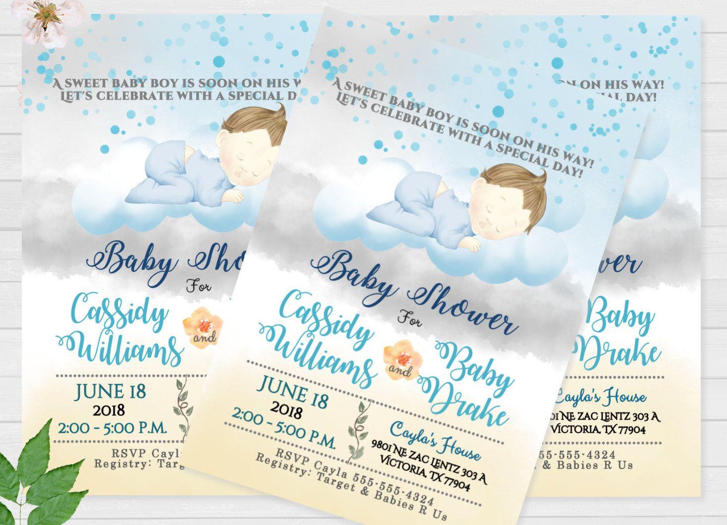 Baby Boy Shower Invitations Baby Shower Sleeping Baby Shower ...