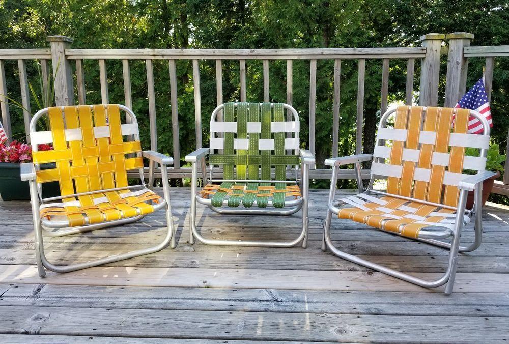 Amazing (3) VTG Mid Century GAY Aluminum Folding Low Beach Lawn Chairs Green/Gold/ Orange