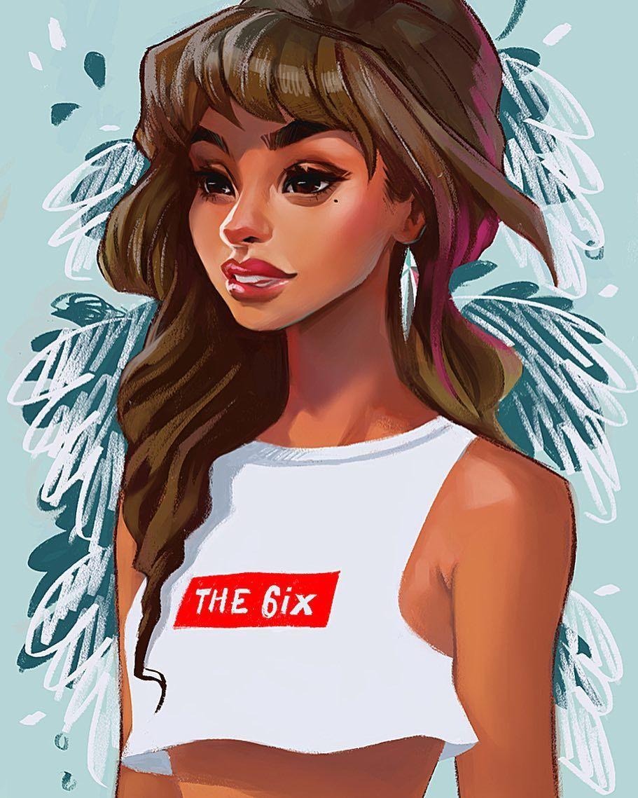 Digital Art By Bofenglin Girl With Dark Long Hair Brown Eyes Eye And Quote Quote Crop Top T Shirt Illustra Digital Portrait Art Digital Art Girl Character Art