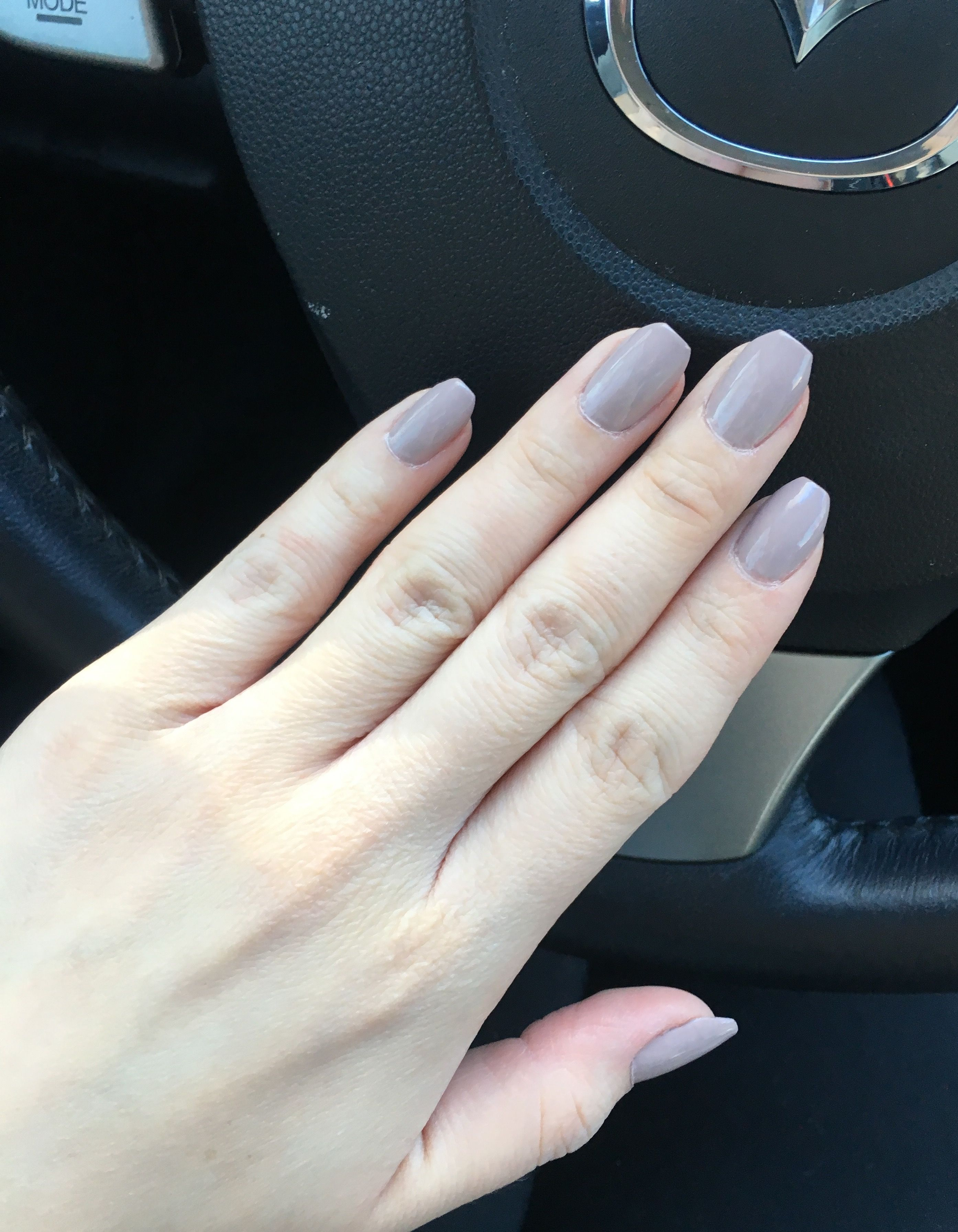 Short natural coffin nails- color is Field Fox in CND Vinylux ...