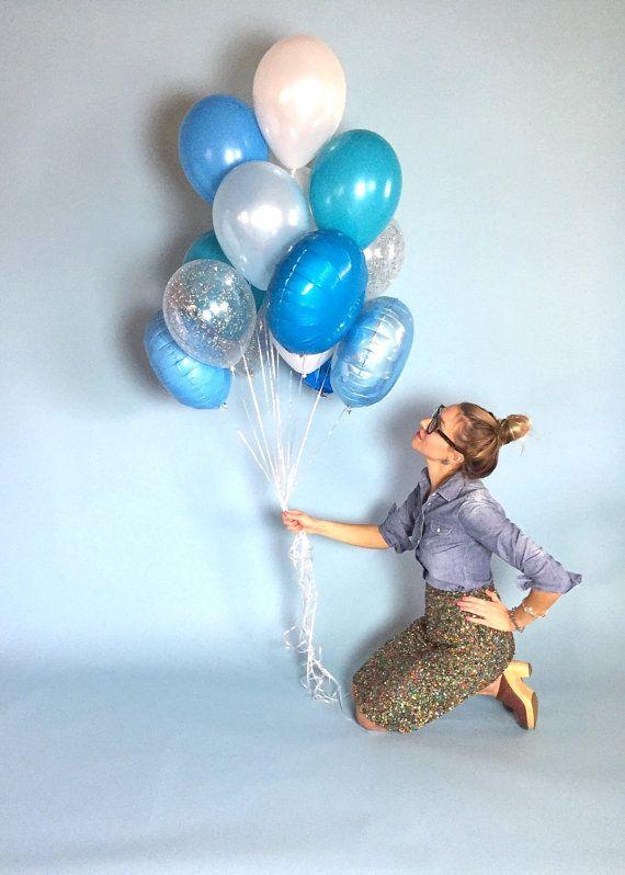 Balloon Centerpiece Blue : Big blue balloon bouquet confetti balloons by