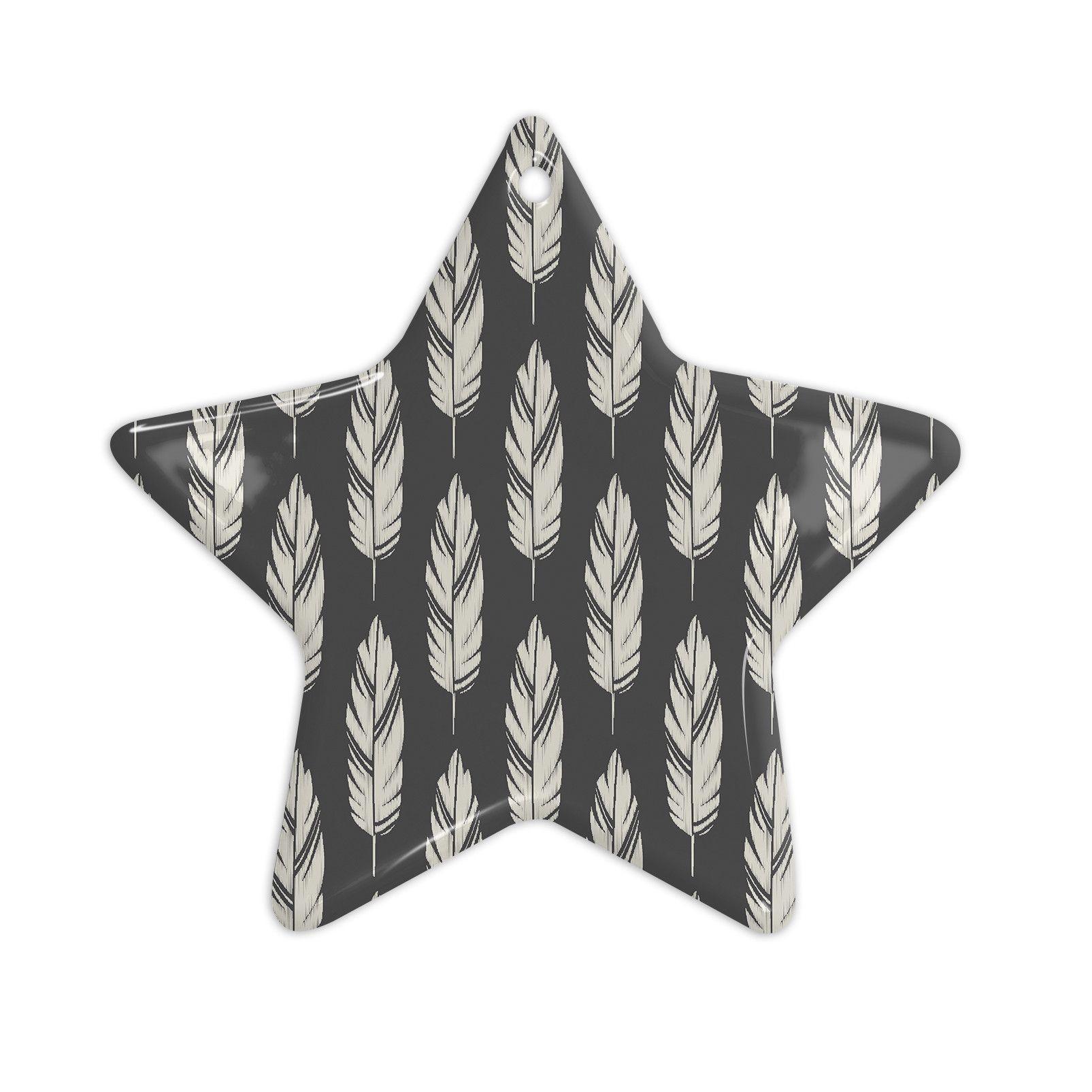 "Amanda Lane ""Feathers Black Cream"" Dark Pattern Ceramic Star Ornament"