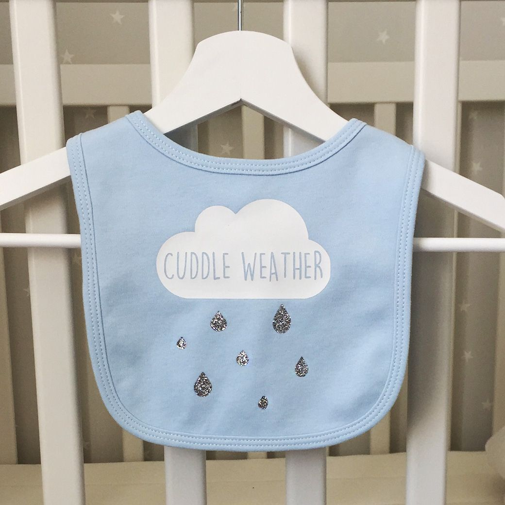 A Playful And Cute Baby Bib With Glitter Rain Drop Details Perfect Make My Day Penguin For Rainy Blue Made From 100 Soft Cotton Velcro Fastening