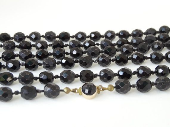 """Vintage Made in Austria Very Long Black Bead Necklace Faceted Glass & Plastic Beads Hand Knotted 55"""" Flapper Length #vintage #ecochic"""