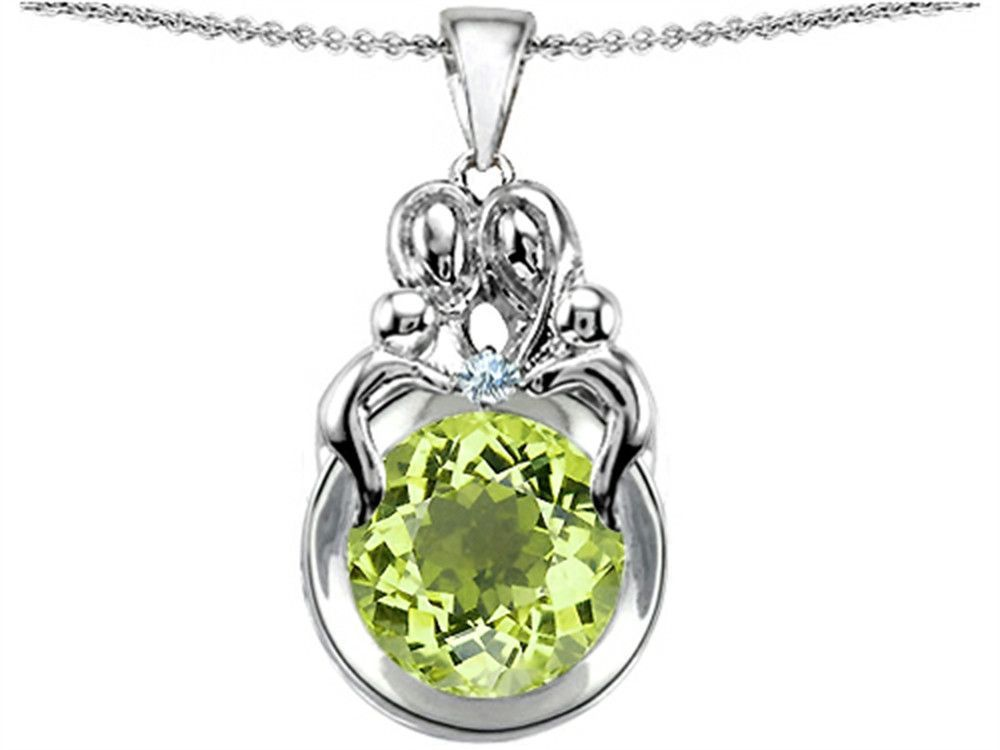 Star K Large Loving Mother And Family Pendant Necklace With Round 10mm Simulated Peridot and Cubic Zirconia