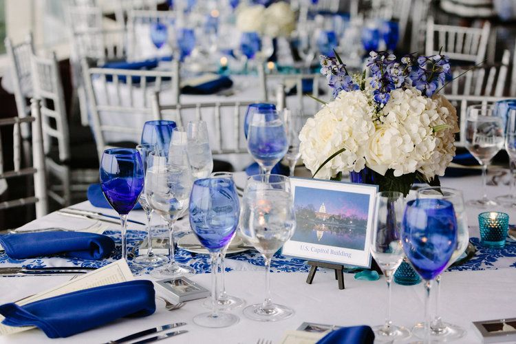 A beautiful royal blue, turquoise, and white Arlington VA wedding by A Beyoutiful Fête Event Design at Top of the Town. Photo credit: David Abel Photography.