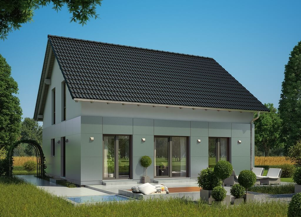 Fassadengestaltung einfamilienhaus weiß  Einfamilienhaus Fassadengestaltung mit Fassadenplatten grau Putz ...