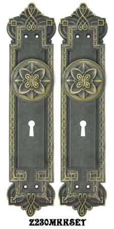 Gothic Byzantine Door Plates Set With Locking Keyed Mortise Lock Z230mkkset Vintage Reproduction Recreation Antique Hardware Mortise Lock Vintage