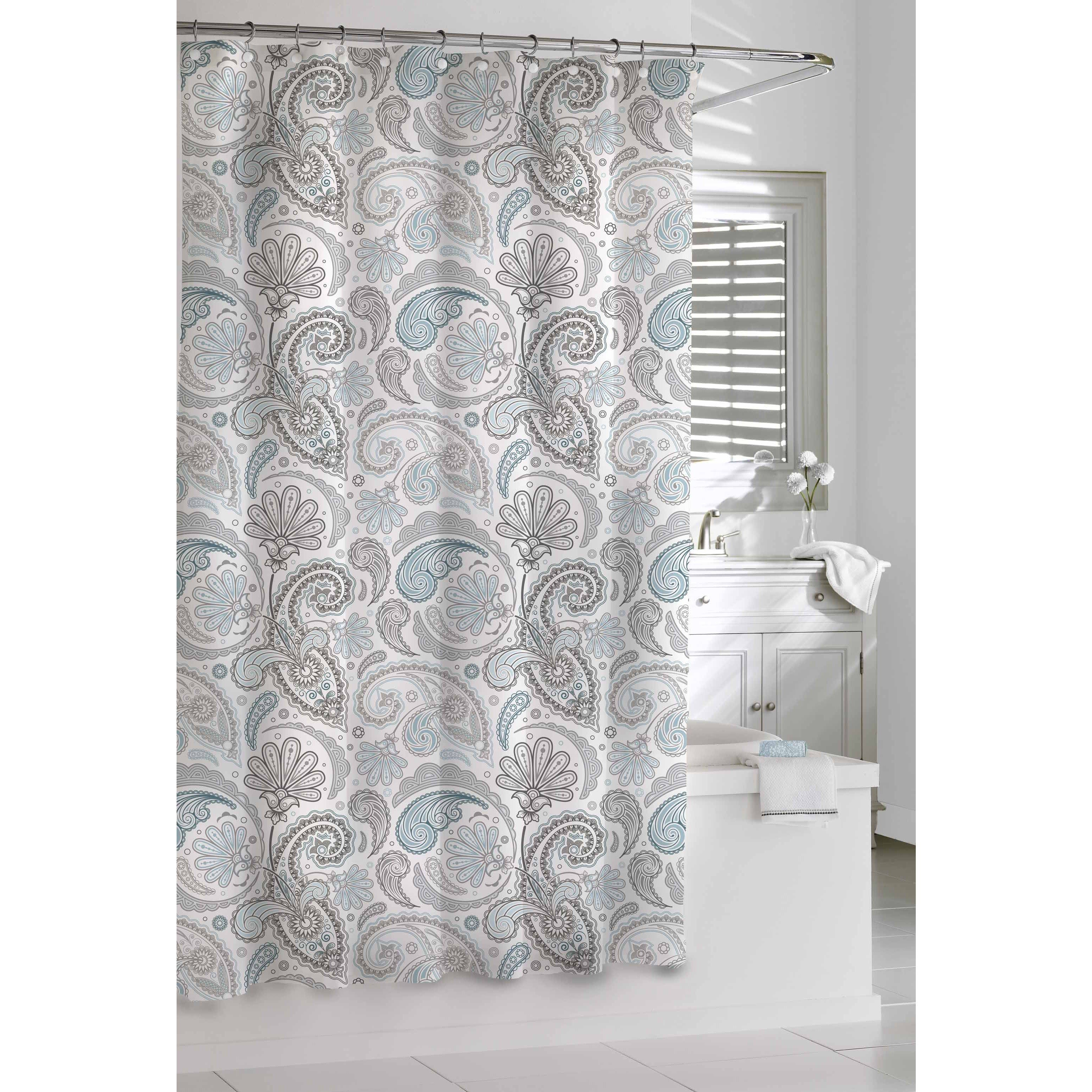 Garden Paisley Blue Grey Shower Curtain Blue Grey Gray Shower