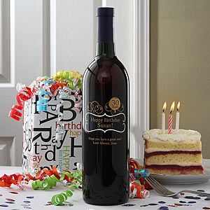 Happy Birthday Balloons Personalized Etched Wine Bottle Great