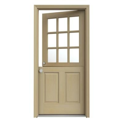 9 Lite Unfinished Dutch Wood Prehung Right Hand Inswing Front Door w   BrickmouldJELD WEN 33 438 in  x 81 75 in  9 Lite Unfinished Dutch Wood   of Prehung Exterior Door Home Depot