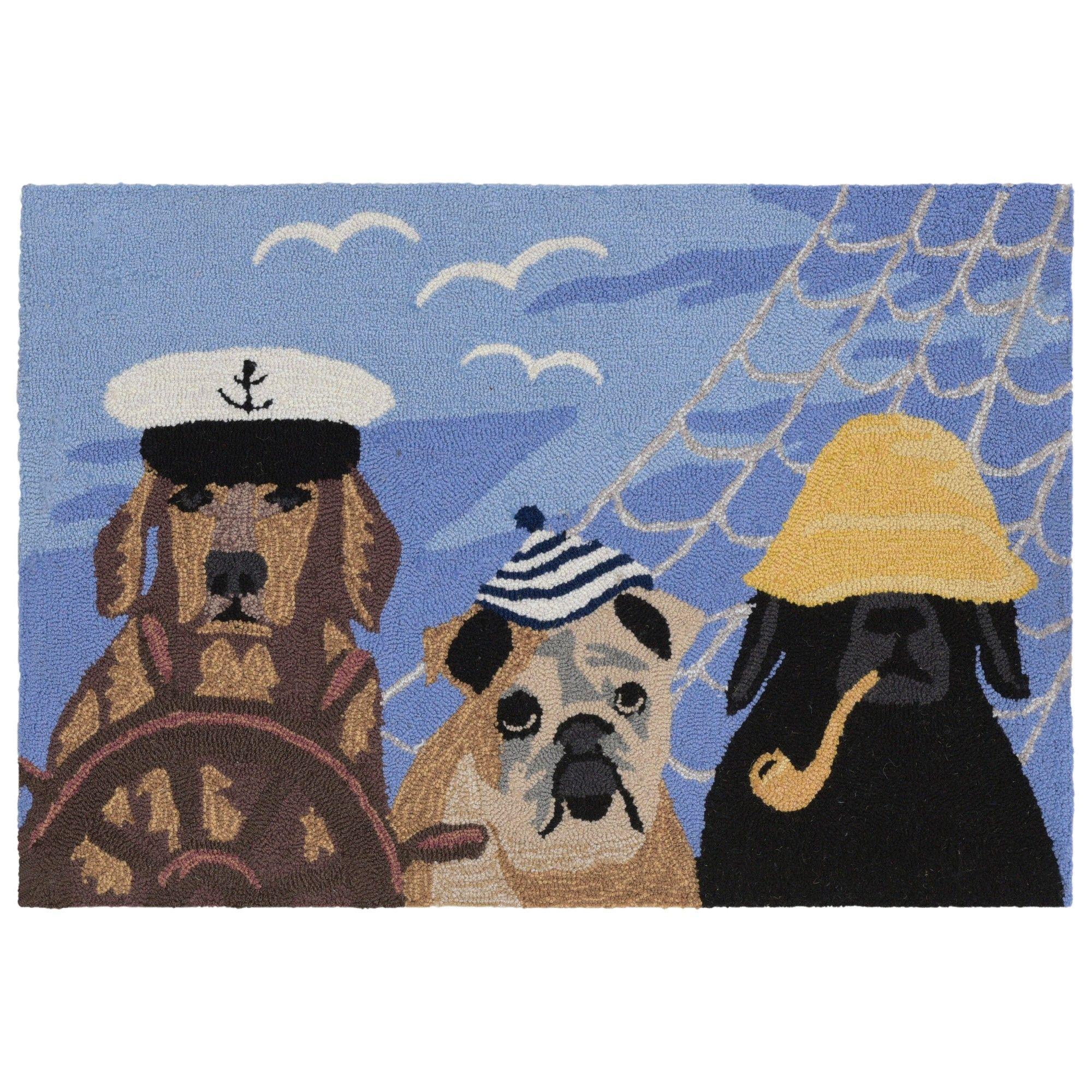 2 6x4 Dogs Accent Rug Ocean Blue Liora Manne