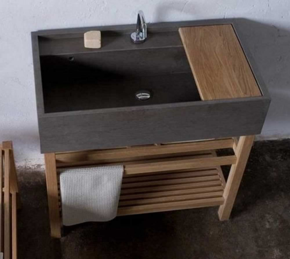 Küchenideen eiche aufsatzwaschbecken  rechteckig  aus naturstein  modern ponente