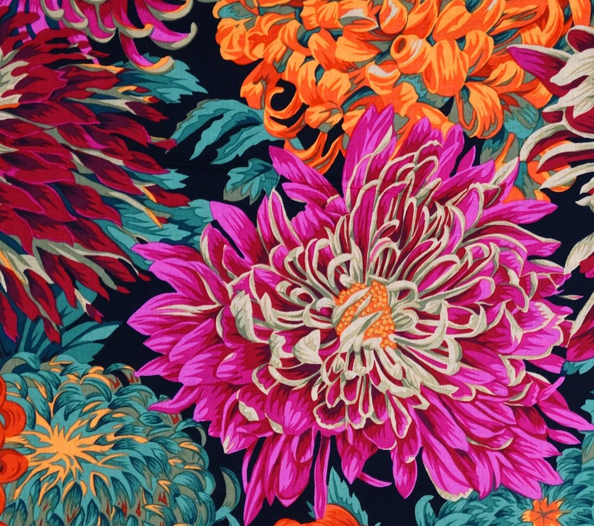 Japanese Chrysanthemum Red Cotton Fabric By Philip Jacobs Flower Drawing Images Floral Backround Floral Art