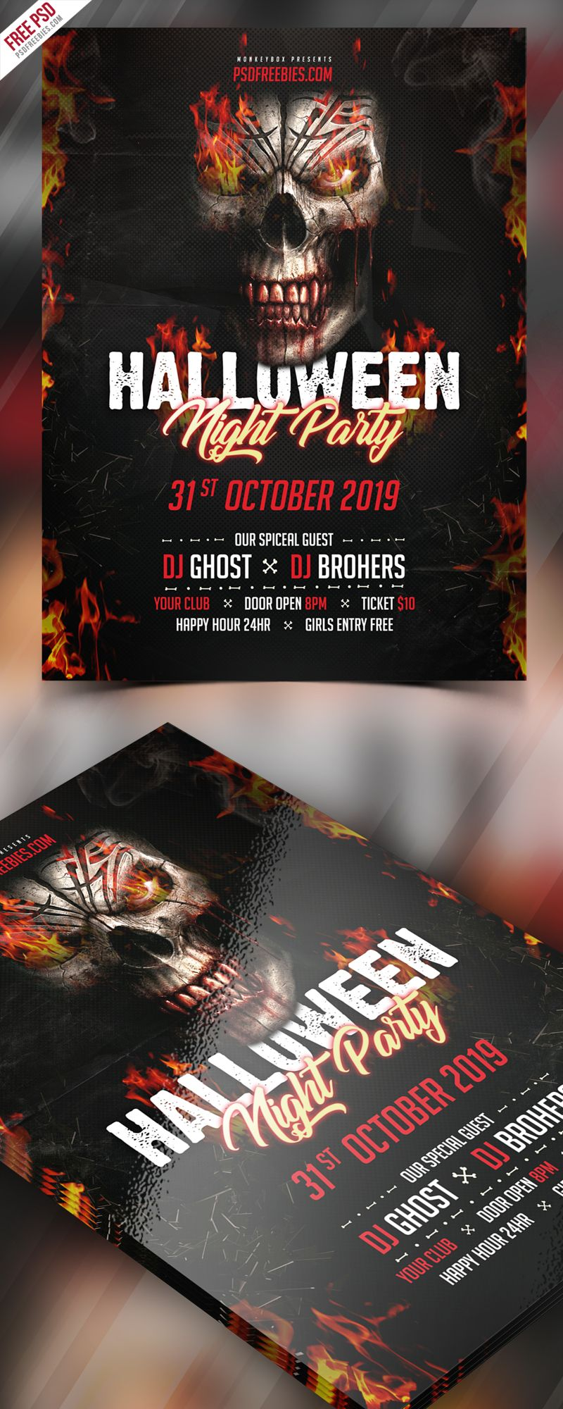 Halloween Party Invitation Flyer PSD Template | Halloween party ...