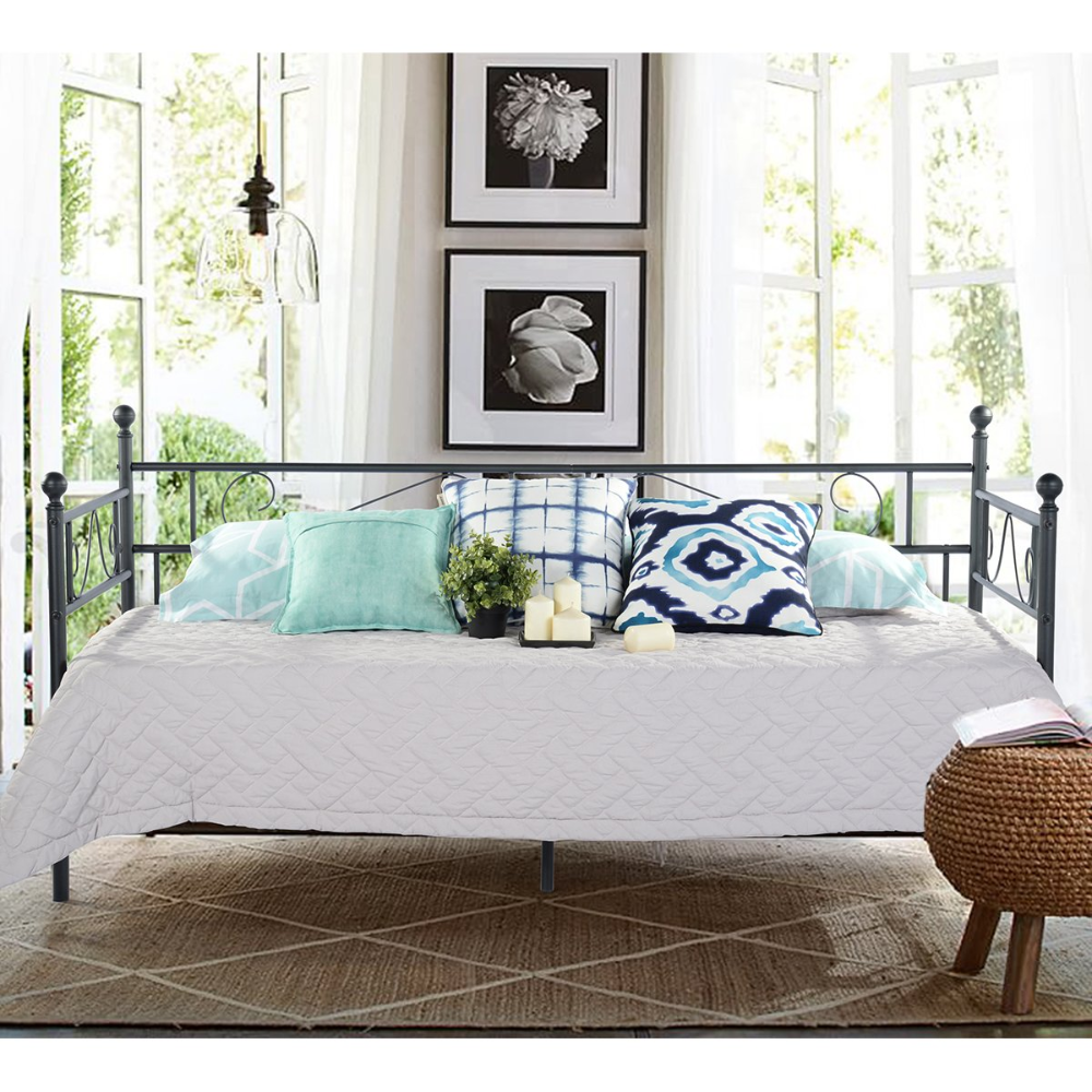 Greenforest Twin Size Daybed Couch Bed Frame Steel Slats Platform