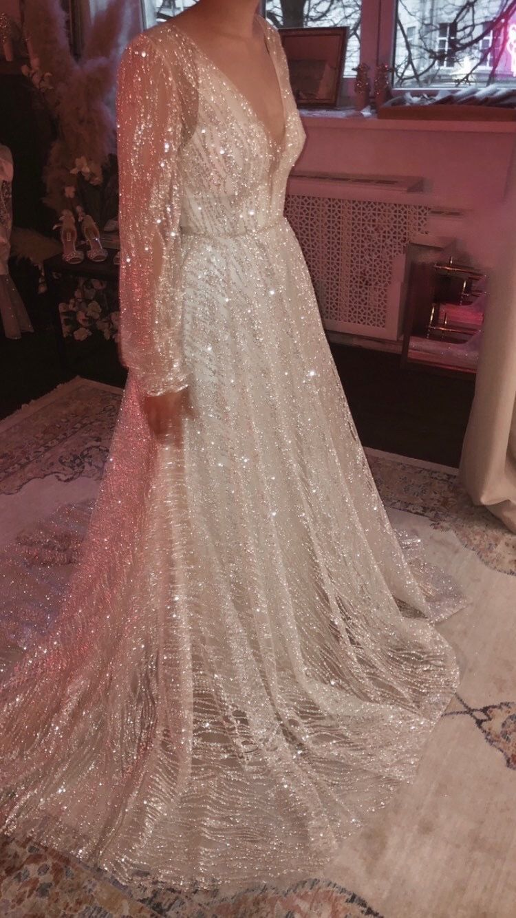 Galaxy By Boom Blush Sparkly Ivory Wedding Dress Unique Bohemian Wedding Gown With Deep V Neck And Long Sleeves Backless And A Line 2021 Wedding Dresses Unique Wedding Dresses Bohemian Wedding Gown [ 1334 x 750 Pixel ]