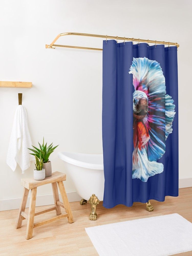 Magnificent Betta Splendens Freshwater Fish Shower Curtain With