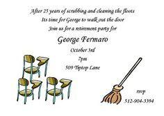 Custodian Retirement - Retirement Party Invitations ...