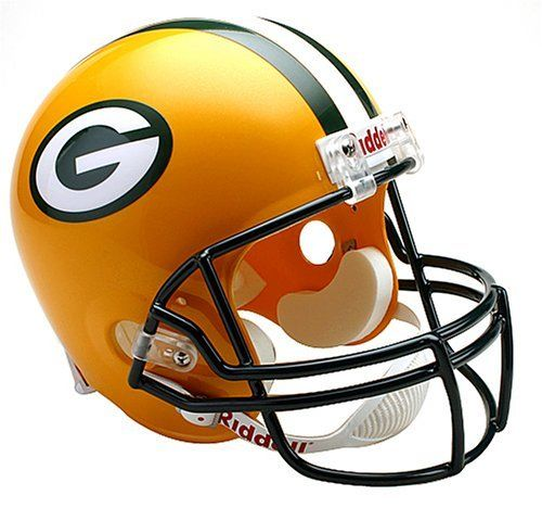 031473bb Authorized replica team decal. Full size shell. Decorative internal  padding. Riddell Green Bay Packers NFL Deluxe Replica Full Size Helmet