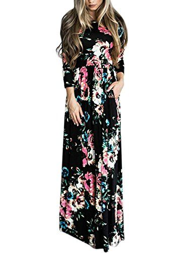 20470702b8 DSCAO Long Sleeve Casual Vintage Floral Boho Maxi Dresses for Women Floor  Length Retro Ladies Dresses S-3XL (XXXL