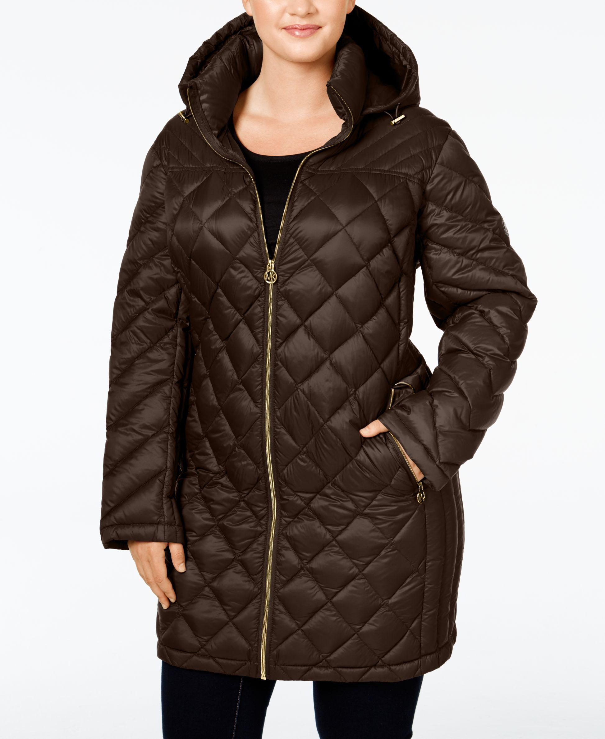 54ad7e1c0d4 Michael Michael Kors Plus Size Hooded Diamond-Quilted Packable Down Coat