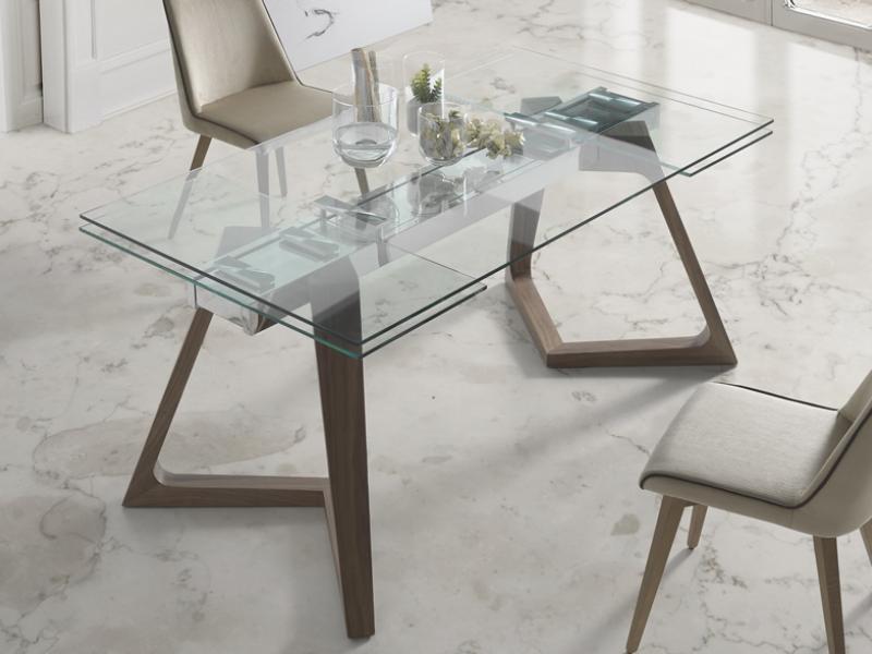 Mesa de comedor extensible con tapa de cristal templado - Mesa nil nacher ...