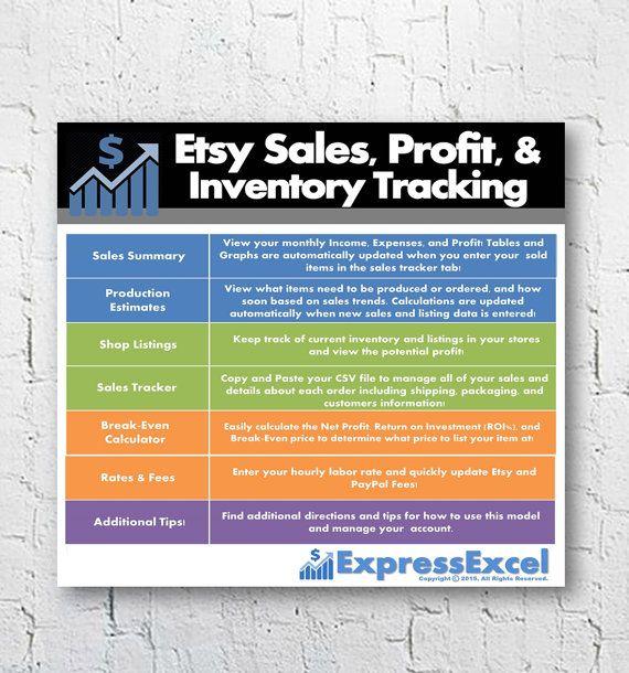 Etsy Seller Shop Sales Profit \ Inventory Tracking Excel - break even excel template