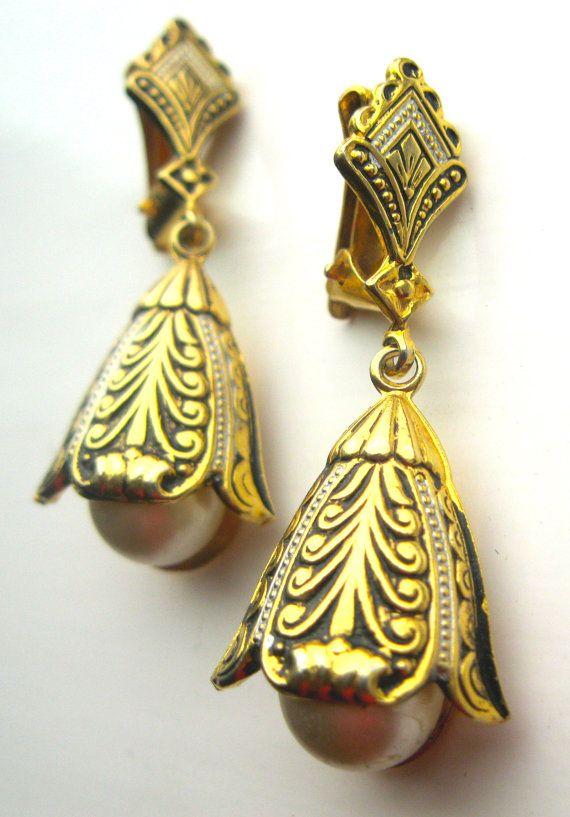 Vintage Signed Spain Earrings Spanish Damascene By