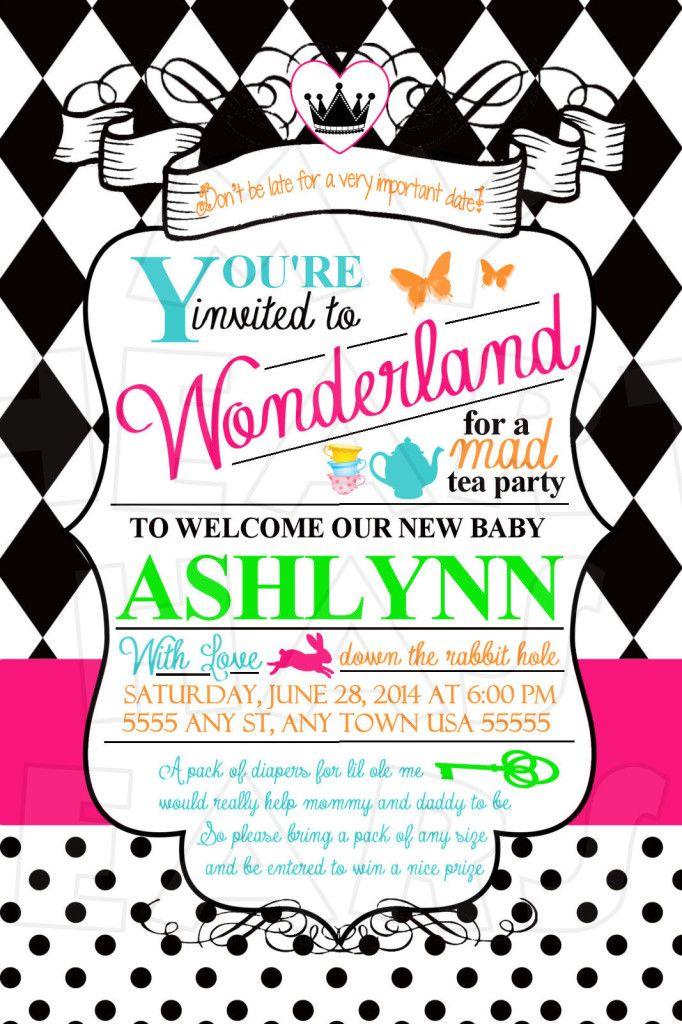 Alice in Wonderland Baby Shower Birthday CUSTOM digital invitation ...
