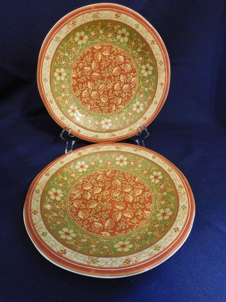 222 Fifth PTS International Kashmir Salad Plates - 2 Fine Porcelain Dish/Micro & 222 Fifth PTS International Kashmir Salad Plates - 2 Fine Porcelain ...