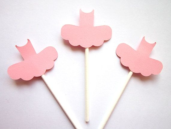 Ballerina Tutu Cupcake Toppers  Light Pink TuTu by CraftyCue