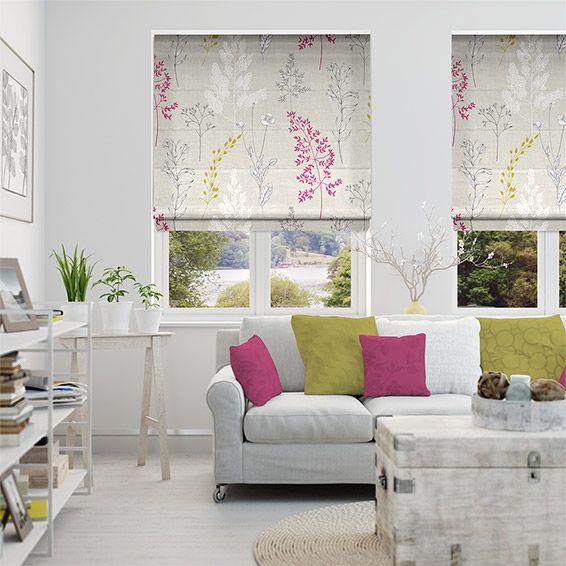Magenta Home Decoration: Summer Meadow Magenta Roman Blind