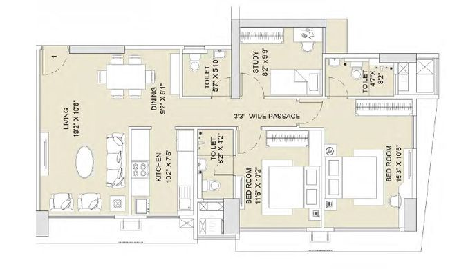 Sunteck City Goregaon West Mumbai Sunteck Group Builders Toilet Room Floor Plans Room