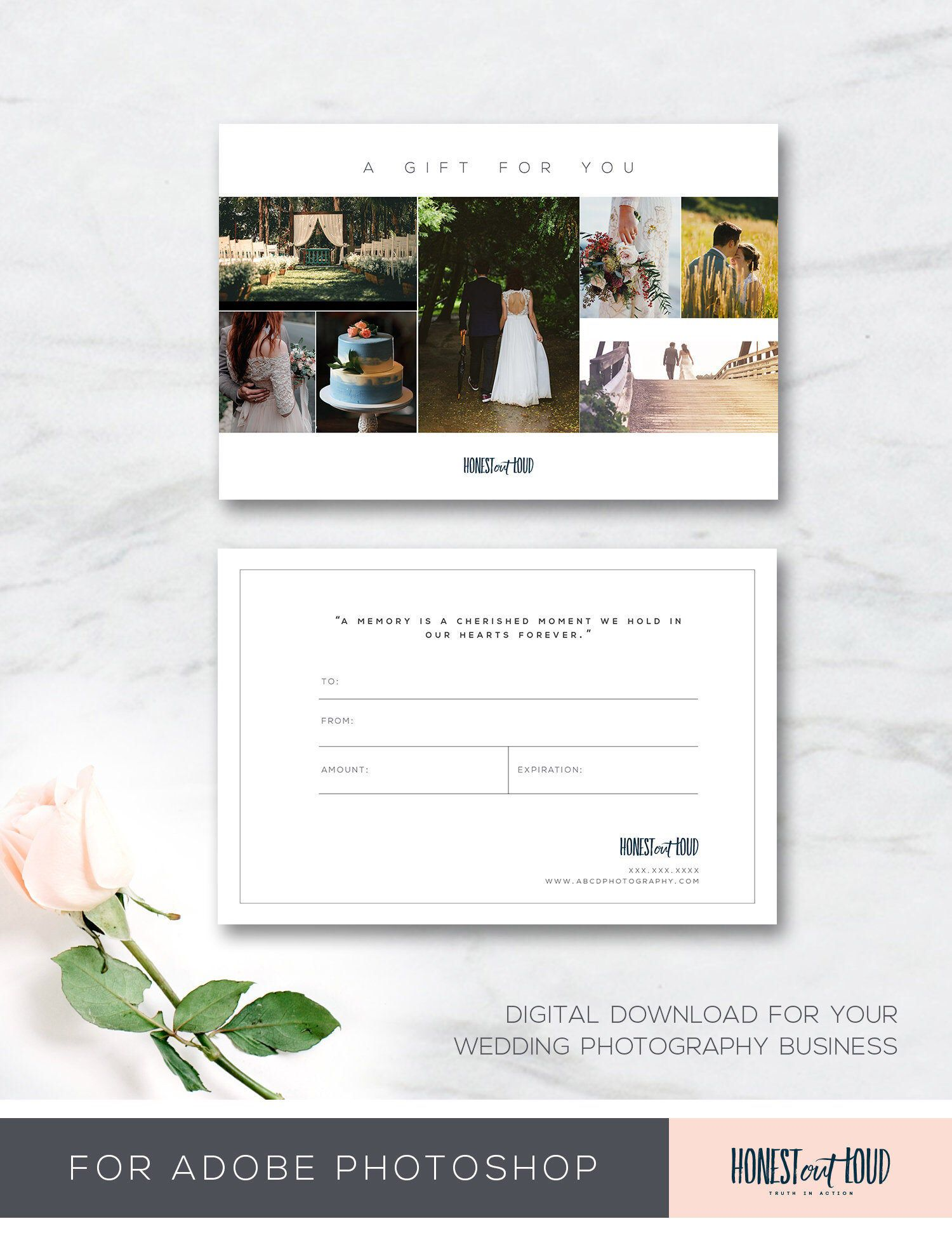 Gift Card Template Wedding Photography 4x6 Photoshop Instant Etsy Gift Card Template Wedding Photography Gifts Photography Gifts
