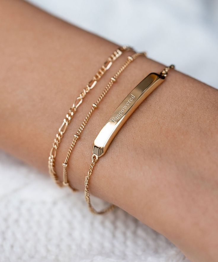 Classic Gold ID Bar Bracelet