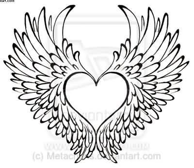 Without Color Heart With Wings Tattoo Design Ideas And Designs