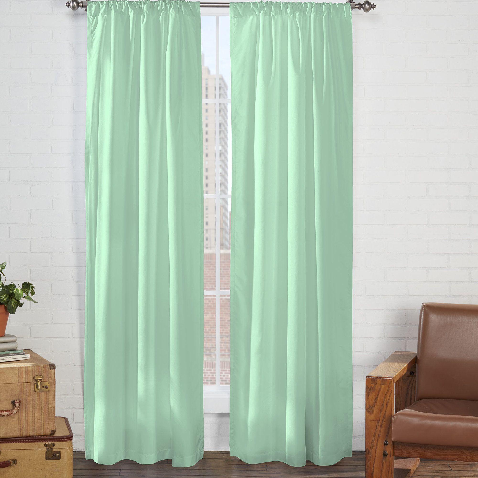 Tasmin microfiber solid semisheer rod pocket single curtain panel