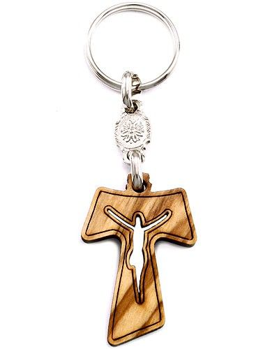 St francis tau cross pendant motavera olive wood tau cross with laser cut crucified on the mozeypictures Gallery