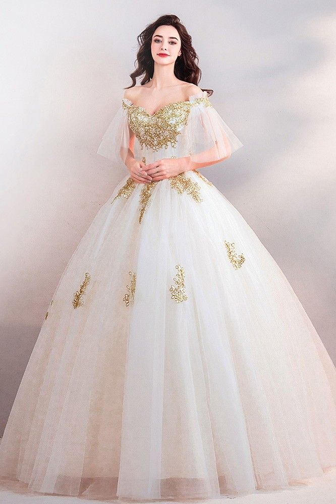 Buy Luxury White With Gold Embroidery Ball Gown Court Wedding Dress With Sleeves at wholesale price online. Free shipping and pro custom service since 2009. #masqueradeballgowns
