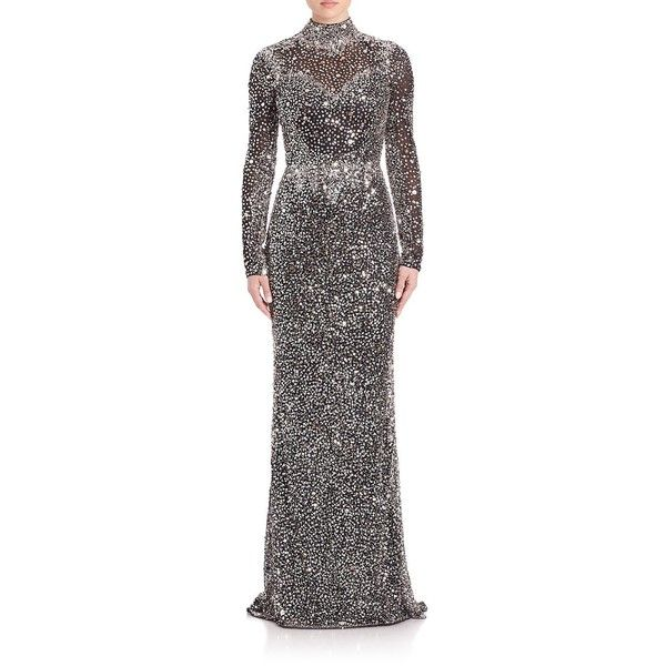Parker Black Ronda Long-Sleeve Beaded Gown (2.830 RON) ❤ liked on ...