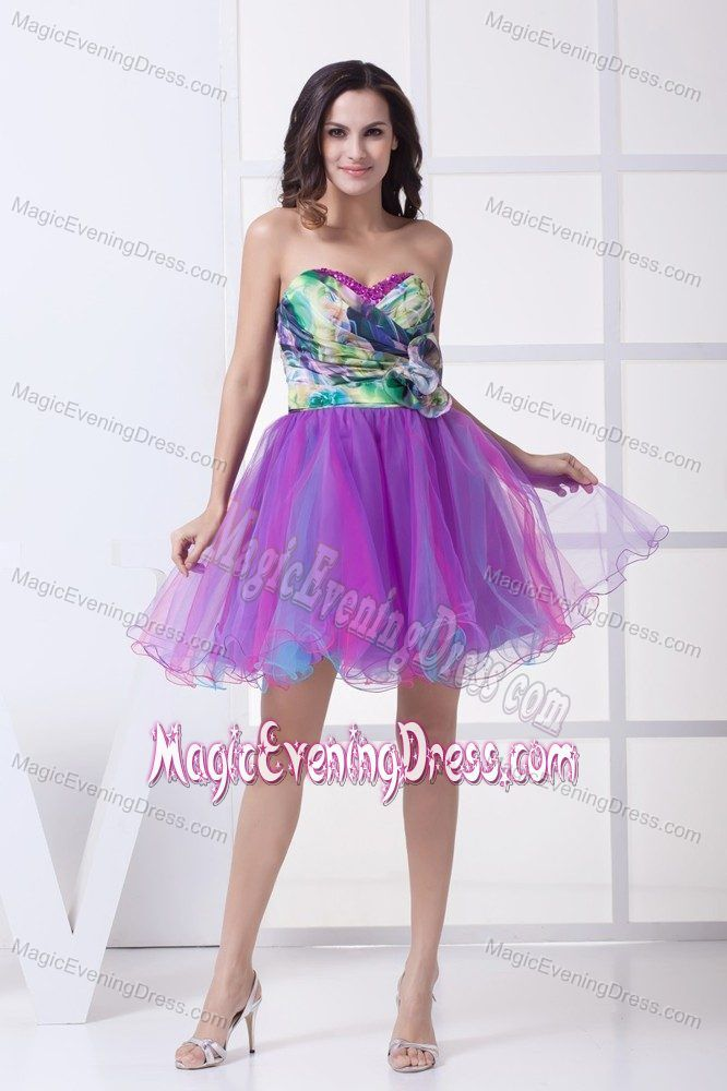 Sweetheart Printed A-line Mini-length Evening Dress Multi-colored in Utah